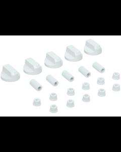Knop draaiknop wit set van 5 stuks oa kookplaat fornuis oven Universeel 15242