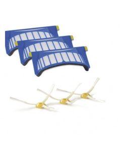 Set van drie aerovac filters en zijborstels origineel IRobot 14181
