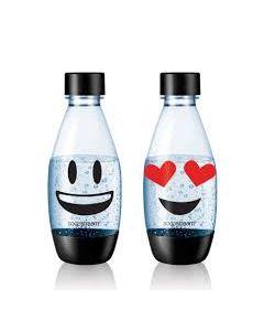 1/2 Liter fles flessen zwart a 2 stuks EMOJI origineel SodaClub SodaStream 15928
